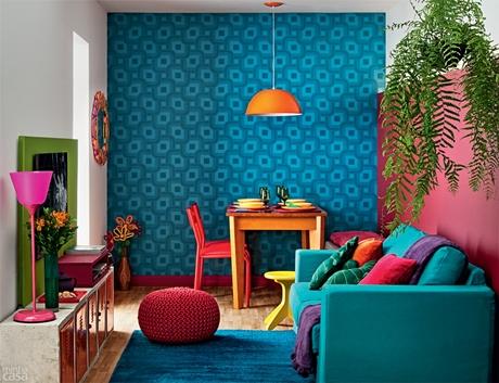 Sala bonita e bem colorida