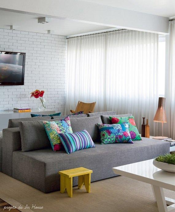 Sala De Tv Cinza E Branco ~ decoracaotijolinhosbrancosreferansblog05mini