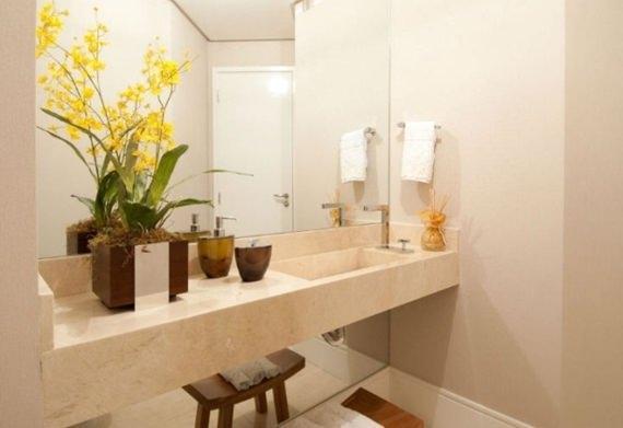 Plantas artificiais para o lavabo