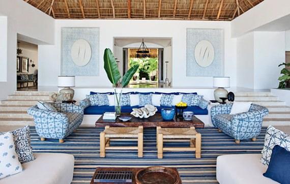 Sala de estar com cara de casa de praia
