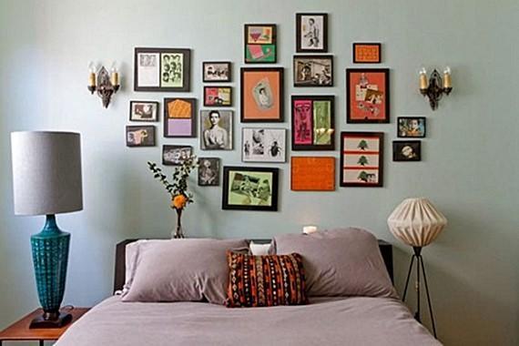 Decore a cabeceira da sua cama com uma linda composição de quadros e fotografias