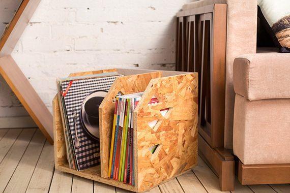 Revisteiro feito de OSB, moderno e empilhável. Também pode servir de organizador de livros e discos.