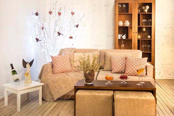 sala de estar decorada para o natal