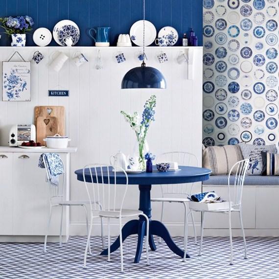 Sala de jantar em azul e branco