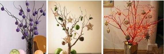 Invista em uma decoração de Natal diferente apostando em um pinheiro de galhos
