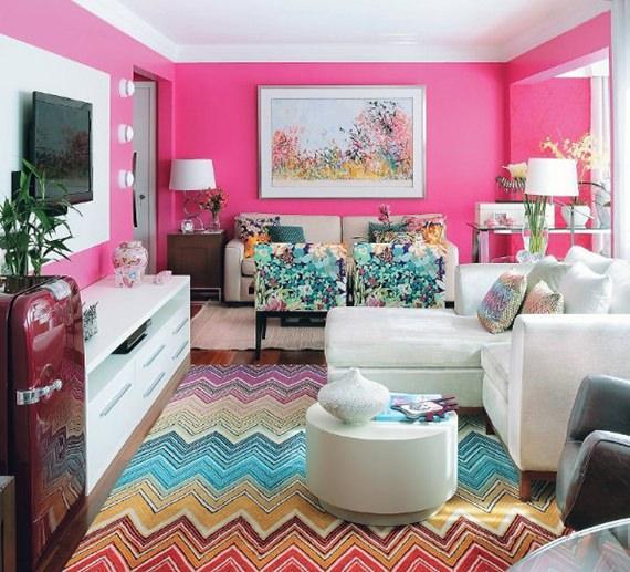 Sala de estar romântica e feminina