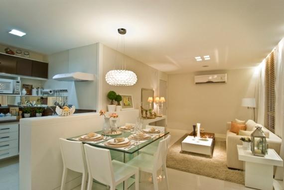Sala De Jantar Pequena Pontofrio ~ Sala de jantar pequena com tons neutros e iluminação privilegiada