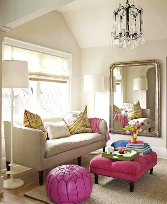 Sala de estar em detalhes cor de rosa