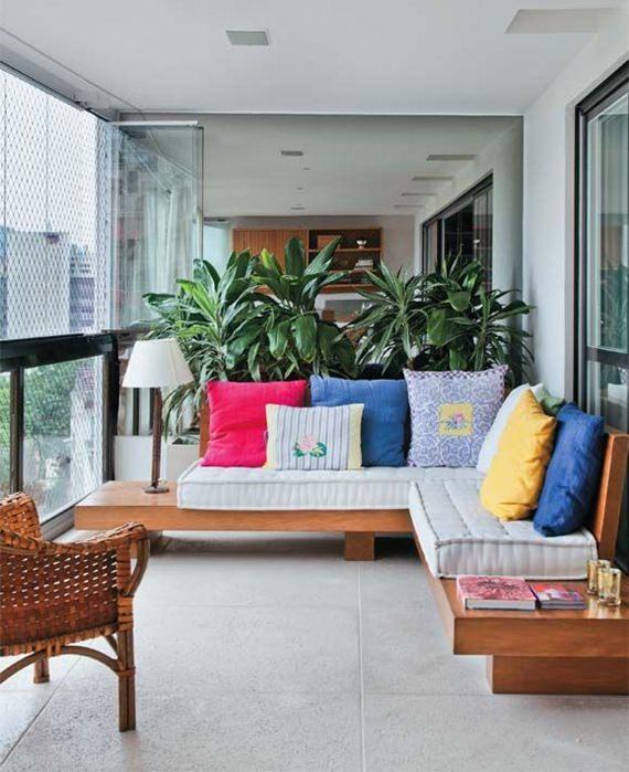 Sofá feito com futons
