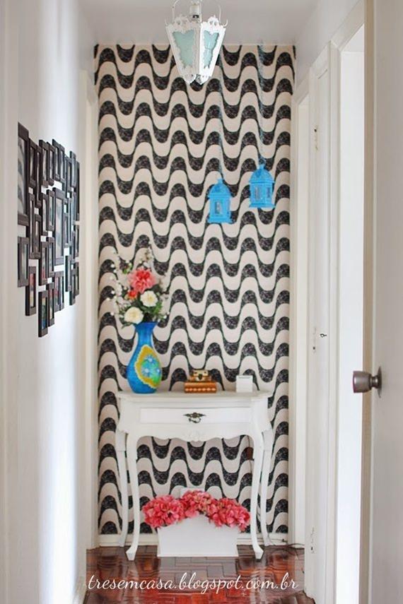 Sala Pequena Com Tecido Na Parede ~ Parede decorada com tecido