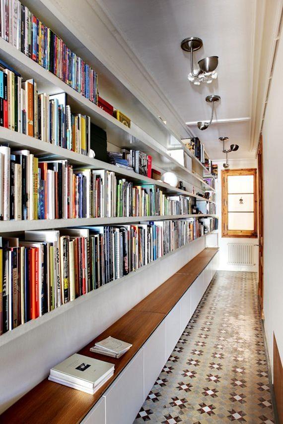 Corredor feito de biblioteca