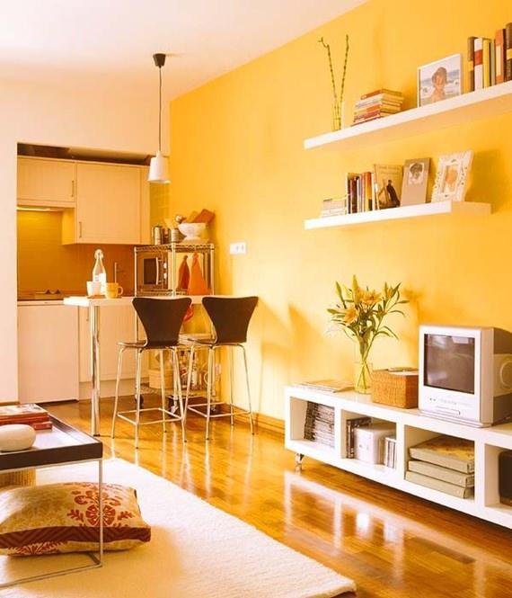 Sala De Estar Com Detalhes Amarelo ~ Com ares monocromáticos, esta sala de estar azul tem uma pegada mais