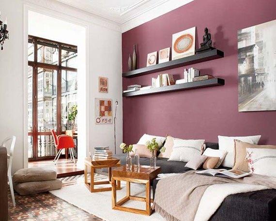 Living com parede uva