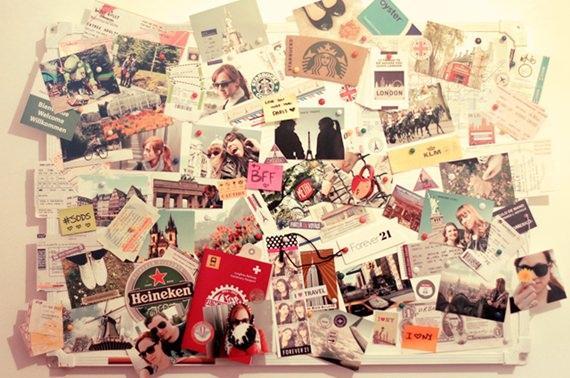 Mural de inspiração com fotos de viagens
