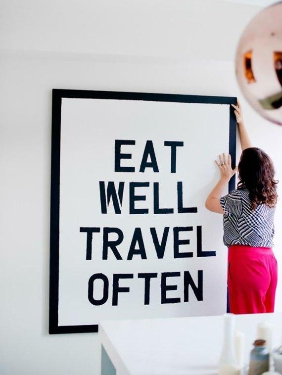 Quadro com mensagem de viagem