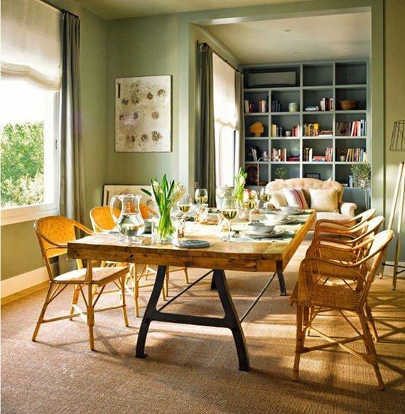 Sala de jantar rica em texturas