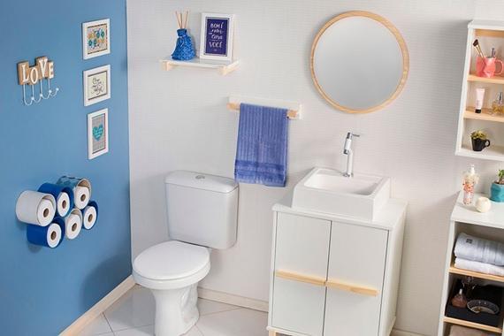 Banheiro compacto azul