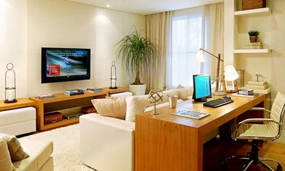 Escritório integrado com a sala de estar