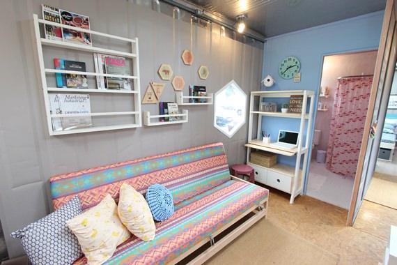 Sala de estar casa container
